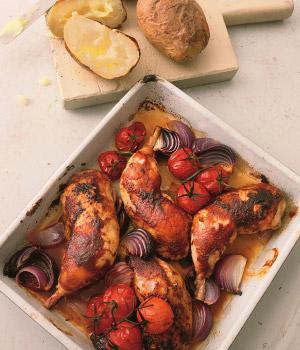 Gekarameliseerde kip met pofaardappelen