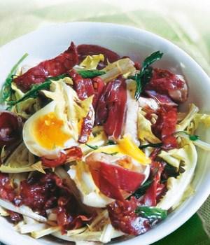 Salade van molsla met chorizo en ham