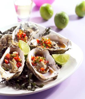 Gestoomde oesters met limoen en soja