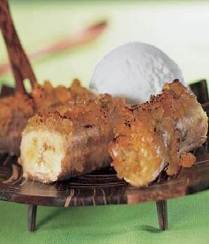 Gebakken banaan met gember en honing