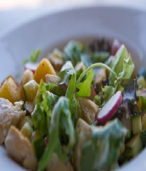 Lauwwarme salade met kip
