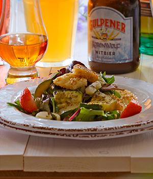 Salade  met gegrilde halloumi