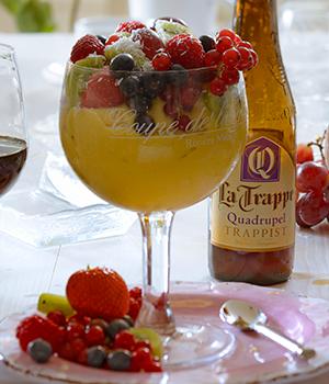 Perziksorbet met zomerfruit