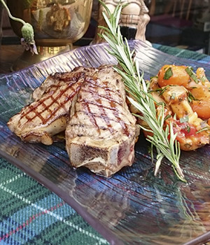 Rosemary goat chops                   with root vegetables