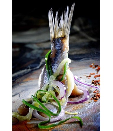 Haring  met gemarineerde komkommer en rode ui