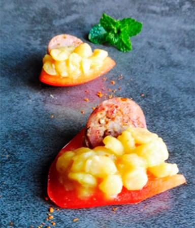 Gele linzen  met rode paprika en chorizo
