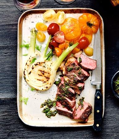 Biefstuk in knoflookmarinade met chimichurri